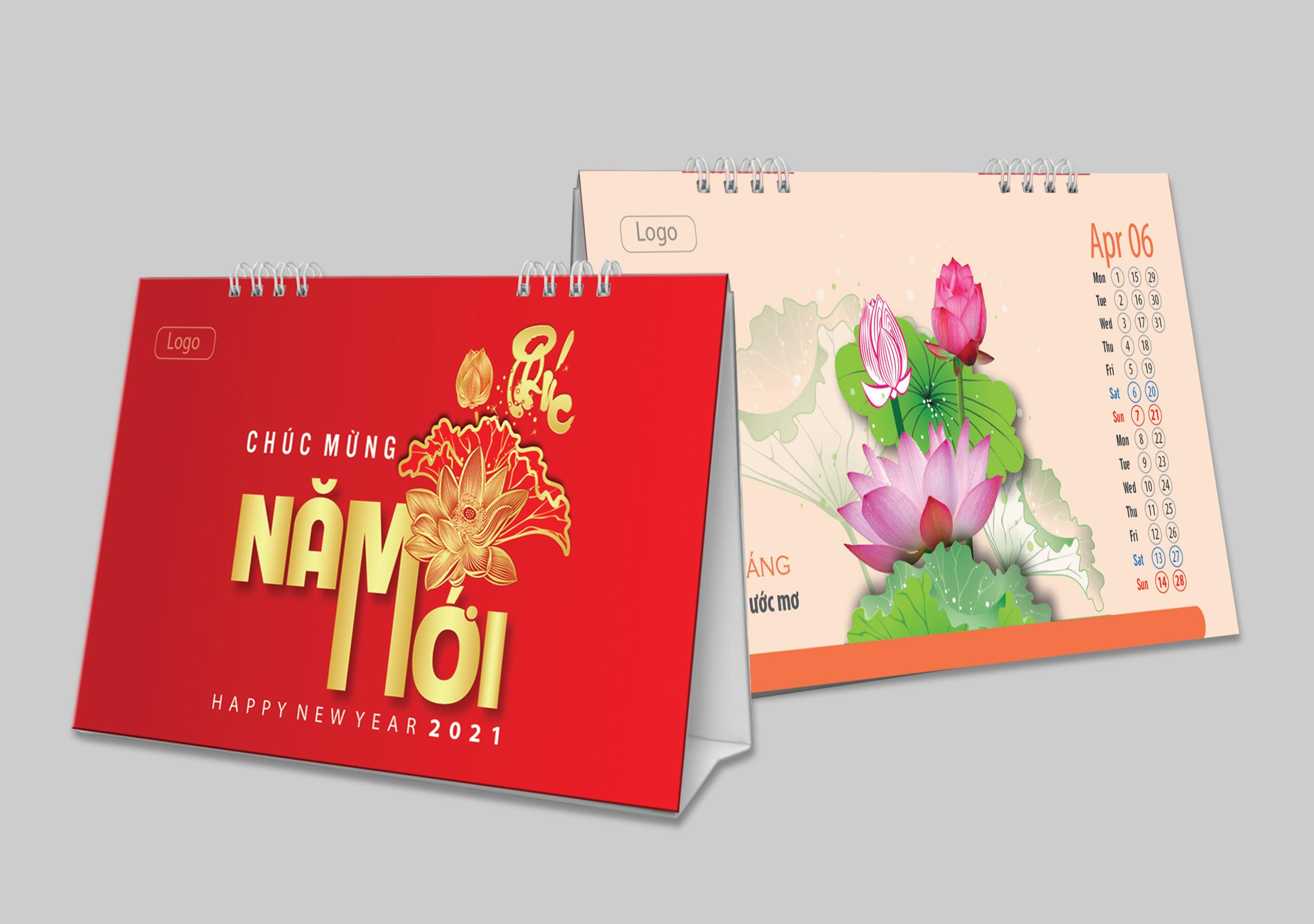 Lịch Tết để bàn tranh vẽ hoa sen cực đẹp.