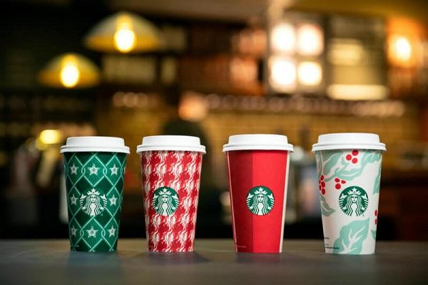 Bộ nhận diện cốc giấy của thương hiệu cafe quốc tế Starbucks