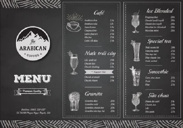 Diện mạo menu theo xu hướng tối giản hiện nay
