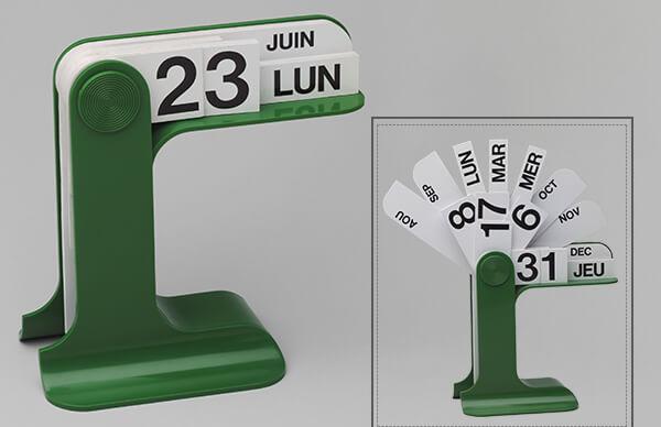 Thiết kế lịch bàn nhỏ gộn làm từ nhựa.